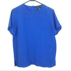 Preston & York Blue Silk Blouse Career Work sz 8 O